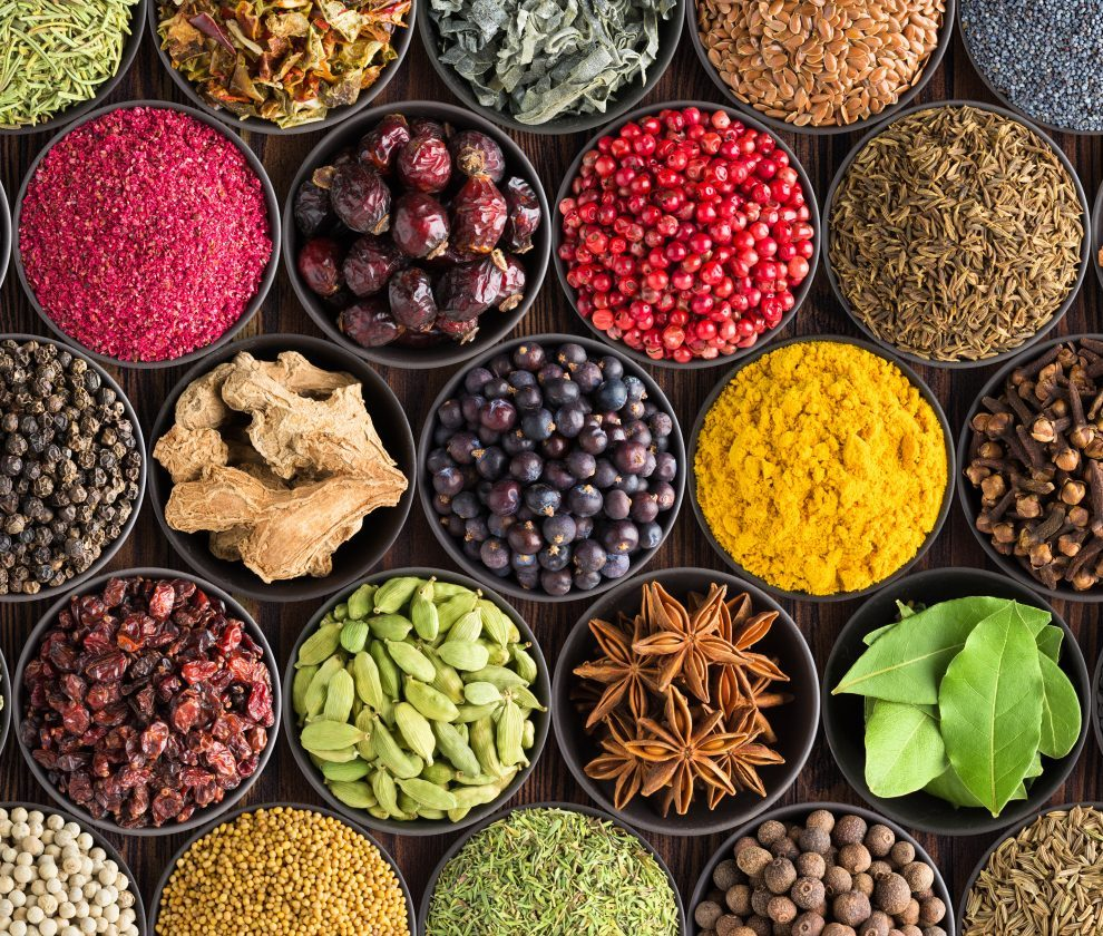 colorful spice background, top view. Seasonings and herbs for In